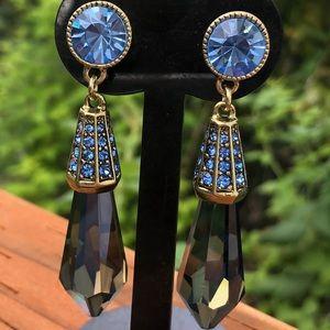 Heidi Daus Blue Chandelier Crystal earrings NWT